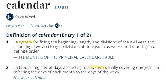 calendar definition