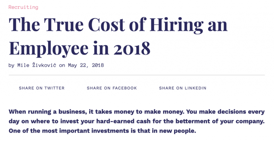 Cost Of Hiring Content Example