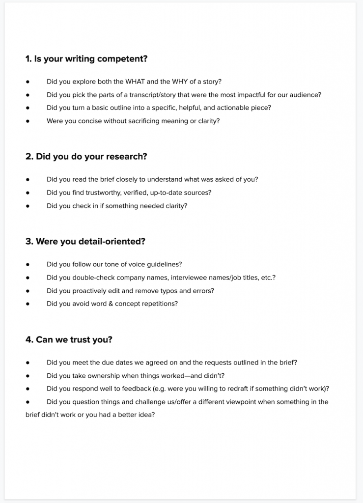 freelance writer evaluation questions